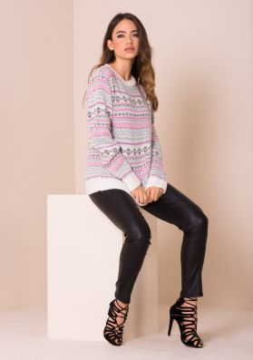 Mary Jo Cream And Pink Print Knitted Jumper