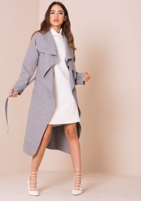 Shay Light Grey Waterfall Drape Coat