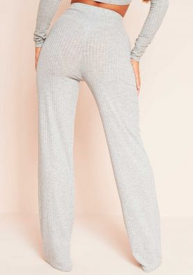 Aubrey Grey Mix & Match Ribbed Lounge Wide Leg Trousers