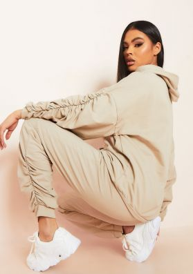 Kacie Beige Ruched Sleeve Jogger and Hoodie Lounge Set