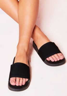 Raegan Black Woven Sliders