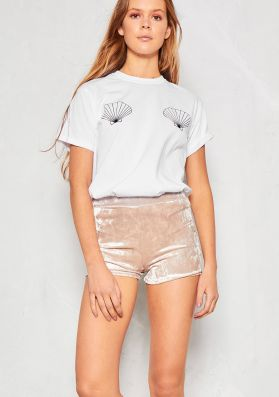 Ovia Gold Crushed Velvet Shorts