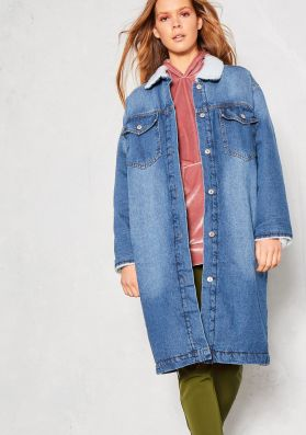 Hester Blue Denim Shearling Longline Coat