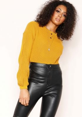 Gilly Mustard Knitted Cropped Jumper