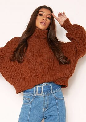 Hana Brown Cable Knit Roll Neck Jumper