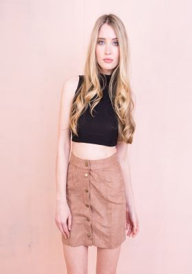 Gaby Camel Button Front Suede Mini Skirt