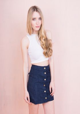 Gaby Navy Button Front Suede Mini Skirt