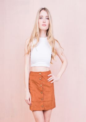 Gaby Rust Button Front Suede Mini Skirt