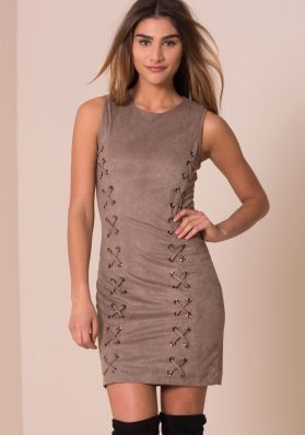Avril Mocha Suede Eyelet Detail Bodycon Dress