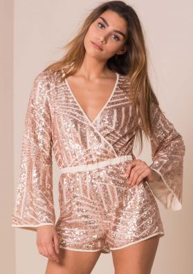 Madison Nude Sequin Bell Sleeve Playsuit