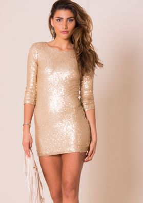 Milly Gold Sequin Mini Dress