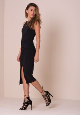 Karissa Black Front Knot Slinky Midi Dress