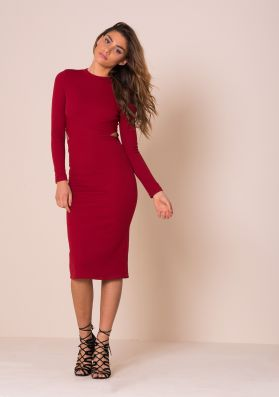 Kassie Red Cut Out Detail Ribbed Midi Dress