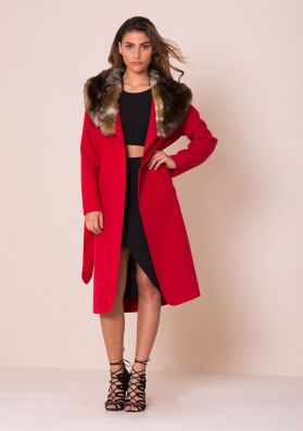 Olyvia Red Faux Fur Collar Belted Coat