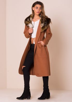 Olyvia Rust Faux Fur Collar Belted Coat