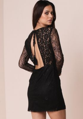 Claira Black Lace Panel Backless Bodycon Dress