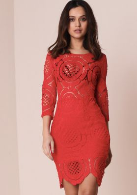 Chelian Red Crochet Bodycon Dress