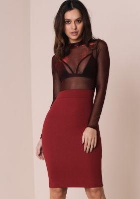 Fay Wine Sheer Top Bodycon Dress