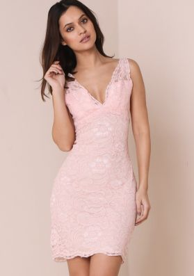 Parissa Pink Floral Lace Plunge Bodycon Dress