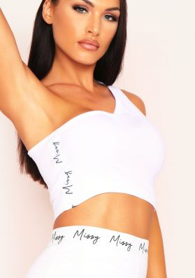 Sofia White One Shoulder Missy Tape Side Crop Top