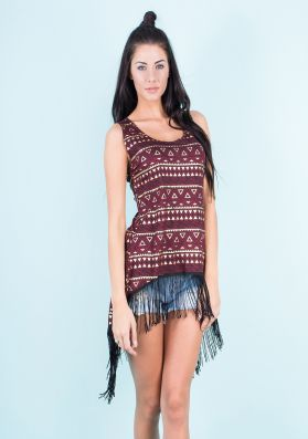 Iris Wine Aztec Split Back Tassel Top