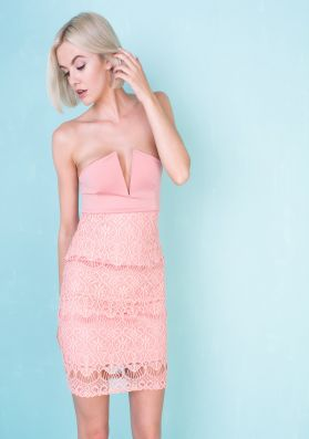 Ivy Dusty Pink Lace Bandeau Bodycon Dress