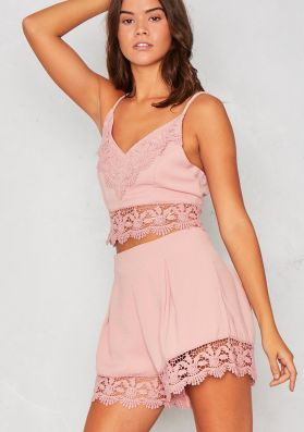 Tori Pink Crochet Bralet and Short Co-ord