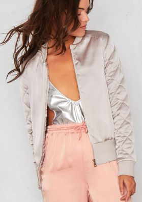 Susy Grey Satin Quilted Bomber