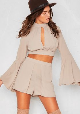 Cami Grey Lace Open Back Bell Sleeved Co-Ord