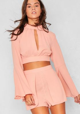 Cami Peach Lace Open Back Bell Sleeved Co-Ord