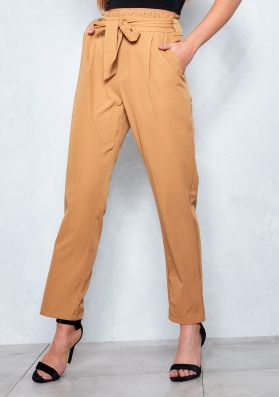 Azelie Camel Paperbag Straight Leg Trousers