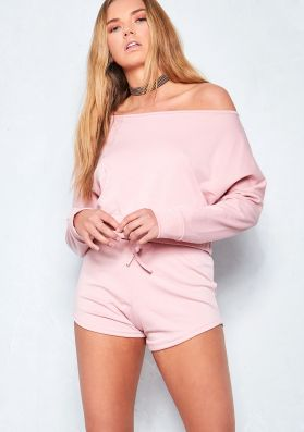 Phoebe Baby Pink Cropped Slouch Loungewear