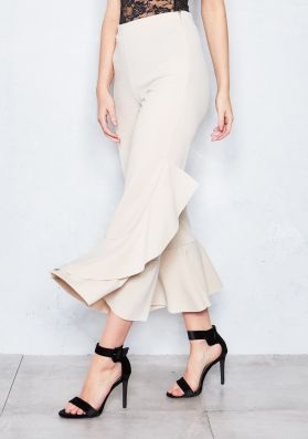 Missandei Beige Ruffled Cropped Trousers