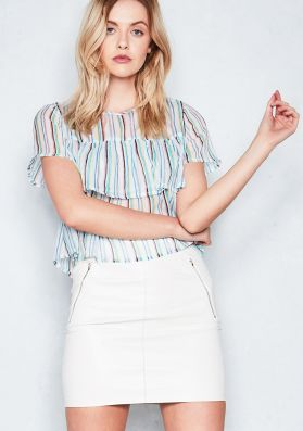 Candy White Multicoloured Striped Sheer Top