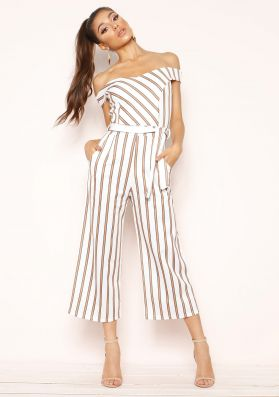 Ophelia White Camel Stripe Belted Culotte Jumpsuit