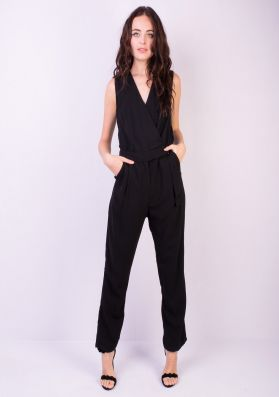 Kendra Black D-Ring Wrap Jumpsuit