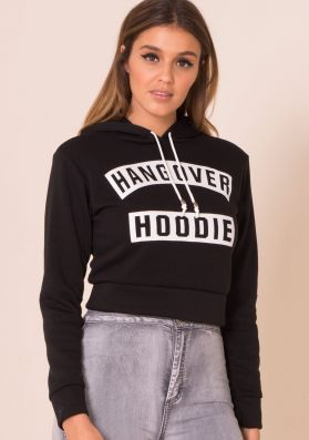 Aby Black Cropped Hangover Hoodie