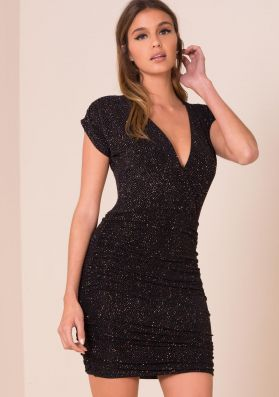 Kylee Black Glitter Ruched Bodycon Dress