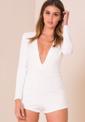 Lucia White Deep Plunge Playsuit