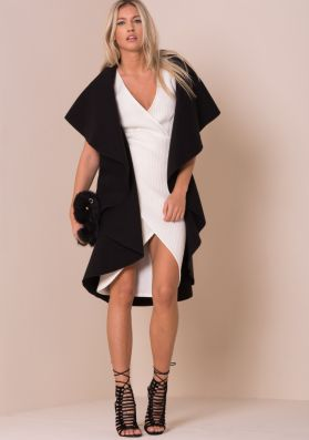 Zandra Black Waterfall Sleeveless Coat
