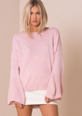 Lila Baby Pink Oversized Bell Sleeve Knitted Jumper