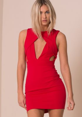 Red Cut Out Front Detail Bodycon Mini Dress