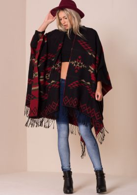 Essie Black And Red Knitted Aztec Print Cape