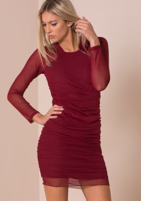 Wine Mesh Ruched Side Detail Bodycon Dress