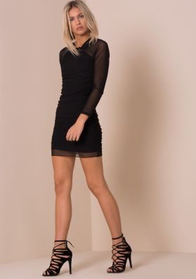 Black Mesh Ruched Side Detail Bodycon Dress