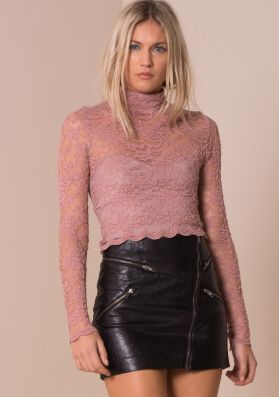 Dusty Pink Turtle Neck Floral Lace Crop Top