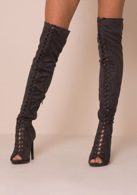 Grey Faux Suede Thigh High Lace Up Heeled Boots
