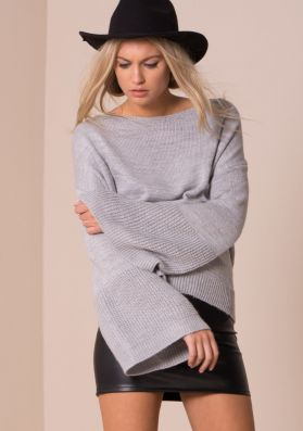 Lila Grey Oversized Bell Sleeve Knitted Jumper