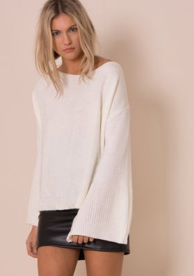 Lila Cream Oversized Bell Sleeve Knitted Jumper