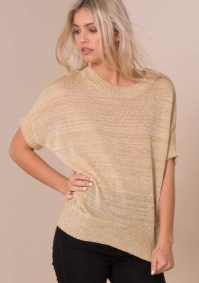 Lillie Gold Glitter Batwing Knitted Jumper